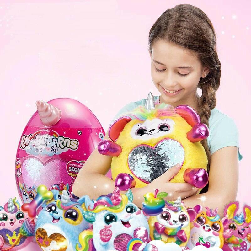 Genuine Original Rainbocornse Rainbow Unicorn Magic Sequin Surprise Plush Doll Girl Toy SMASHERS Epic Dino Egg Christmas Gift